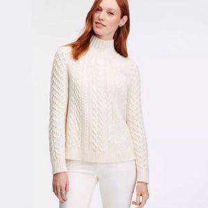 Ann Taylor mock neck cable knit sweater XS